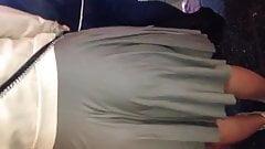 Super fat ass in grey skirt
