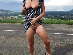 Dutch Milf teasing, flashing and playing in France