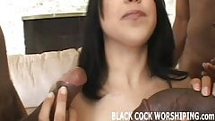 Watch me getting spit roasted by big black cock