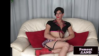 Crossdressing tranny playing with her dick