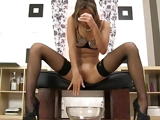 Soo FUCKING HOT BABE IN STOCKINGS PEE by FetishGreg88