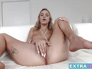Classy slender blonde Emma Hix taking a fat dick inside