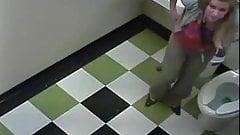 Blonde restroom break 2