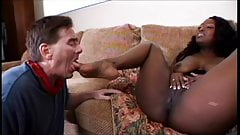 Big black chick spreads her ass and fingers her pussy