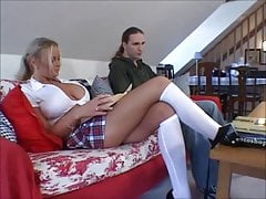 Busty blonde schoolgirl Nicole gets shaved pussy fucked