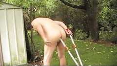 transvestite fisting anal sextoy panties outdoors garden 14