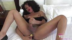 Keira Verga with her yellow dildo