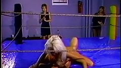 Hot lesbian foursome wrestling match