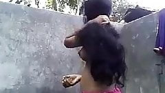 North indian collage girl bathing video