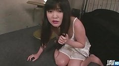 Submissive Nene Masaki is being trained to eat out of a bowl