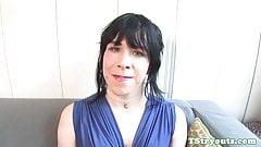 Smalltitted tgirl filmed while wanking