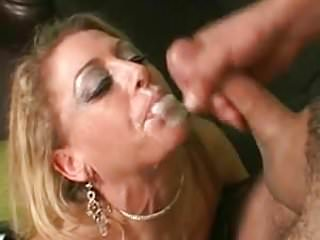 Hot MILF gets a load of jizz from a thick cock