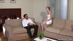 Cheating blonde sucks and rides old big cock