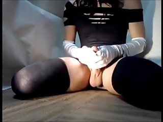 Japanese cd cums multiple times with dildo