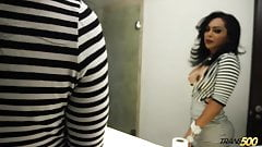 Shemale slut bating in toilet room