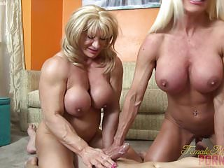Preview 6 of Two Female Bodybuilders Fuck One Dude
