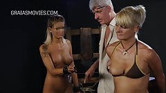 Big tits blonde get whipped by dominatrix's Thumb