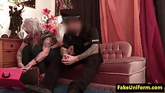 Inked brit pounded in ass by fake uniform cop