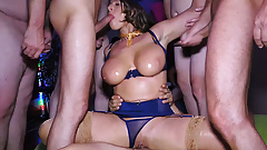 busty stewardess milf rough gang banged
