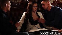 Classy stunner sharing two big dicks in erotic threesome