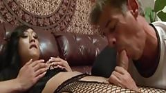 Lovely ladyboy anally fucked in stockings
