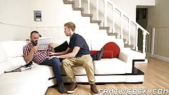 Bearded daddy barebacked and creampied by handsome stepson