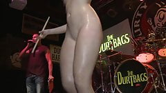 Red Head Coed Puts a Drumstick Up her Pussy at Contest
