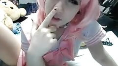 Cosplayer Super Cute Webcam Teen Girl with Pink Hair