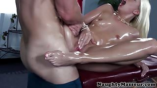 Blonde oiled babe rubbed down before fucking