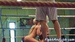 Orally pleasured lesbian wrestles babe