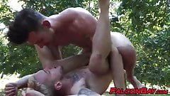 Muscular gays spread each others legs for thick cock outdoor