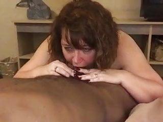 BBW wife taking BBC into her throat