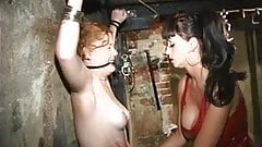 Scared sub gets her mouth gagged by sexy dominatrix