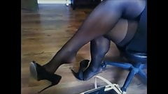 High heels and seamed stockings
