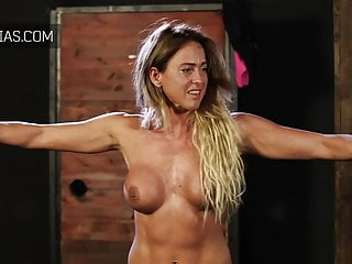 Blonde bodybuilder girl cries from hard whipping
