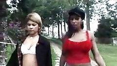 Hot Black Shemale fucks cute skinny girl