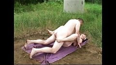 Mature couple fucking on a public beach