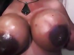 Big breasts ebony babe lactating her oil breasts