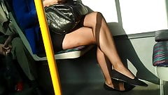 Sheer black pantyhose candid