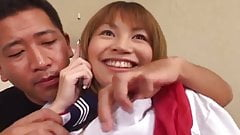 Shy and cute Japanese schoolgirl fucked at home