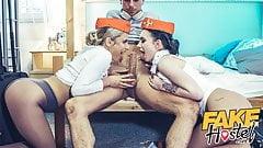 Fake Hostel Flight Attendants in pantyhose surprise