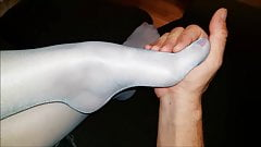 touching my turquoise Pantyhose Feet
