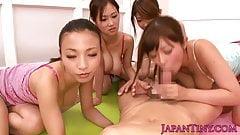 Tiny busty Japanese teens suck one cock pov