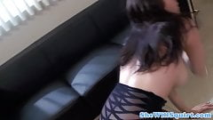 Squirter babe pussy fucked on couch by guy