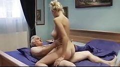 Beautiful young mom has anal sex with old man