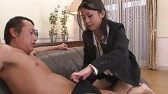Brunette slut gets a warm creampie by her boss
