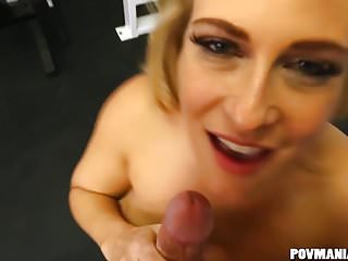 Preview 2 of Busty Blonde MILF Angel Allwood Sucks a Big Cock