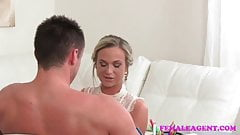 FemaleAgent Sexy new blonde agent empties studs balls