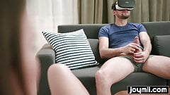 Guy tries VR porn and gets fucked by horny roommate