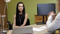 LOAN4K. Skinny brunette passes real sex casting at loan agen